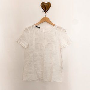 ZARA - White Linen Short Sleeve Top with Lace
